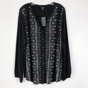 Lucky Brand NEW Black White Print Button Shirt